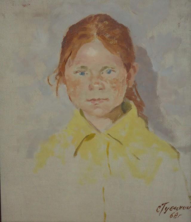 Гуецкий. Портрет девочки в желтом. 38х32, 1968г, холст, масло.